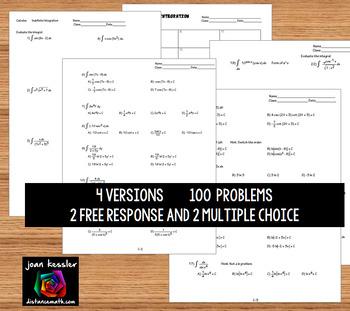Calculus Integration Practice - Indefinite Integration 100  questions