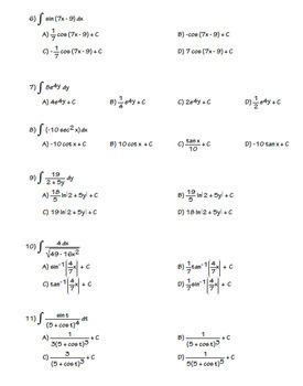 Calculus Integration Practice  Indefinite Integration 100 questions
