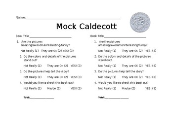 Caldecott Medal rubric and design
