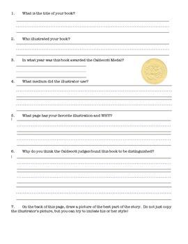 Caldecott Medal Scrapbook Literacy Activity