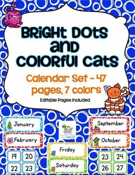 Calendar Set (with editable pages) - Bright Dots/Colorful Cats Theme