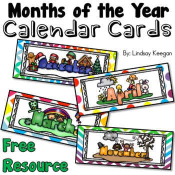 FREE Months of the Year Calendar Cards