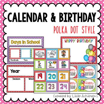 Calendar Labels and Birthday Display in Classroom - Polka Dot Calendar  Numbers