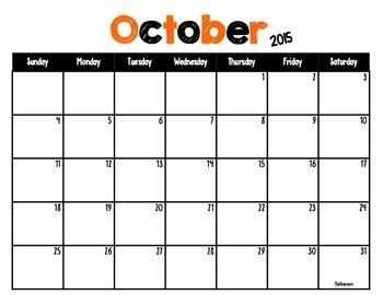 Calendar 2015-2016 Printable Classroom Calendar Set