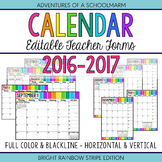 Calendar 2016-2017 - Build a Teacher Planner Binder - Editable