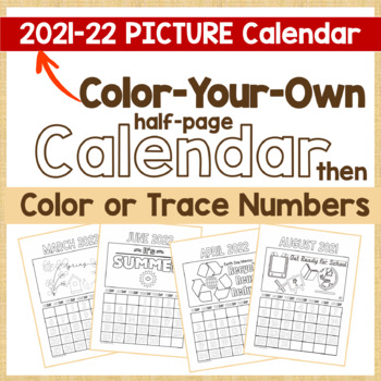 Calendar 2017 - CYO Picture Calendar and Color or Trace Numbers in Outlined Form