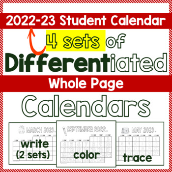 Calendar 2017, 3 Differentiated Whole Page Calendar Sets--Trace, Color or Write