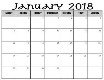 Calendar 2018   ***Editable***