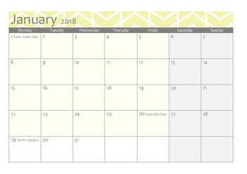 Calendar 2018 month per page- Victorian school and public holidays