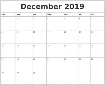 Calendar 2019 December - Printable Templates
