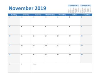 Calendar 2019 November - Printable Templates
