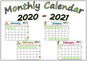 Calendar 2020 - 2021 by MATH is FUNN | Teachers Pay Teachers