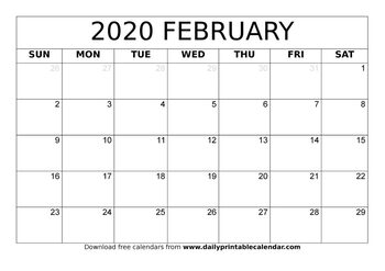 Calendar 2020 February - Printable Template