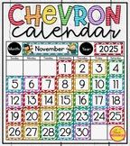 Calendar Display in a Rainbow Chevron Classroom Decor Theme
