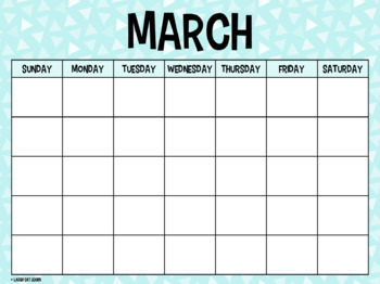 Blank Horizontal Calendar {Teal & Purple}