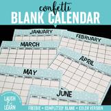 Blank Calendar // Confetti {FREEBIE}