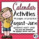 Back to School Activities Calendar Morning Work