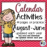 Back to School Calendar Activities Morning Work