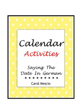 Calendar Activities * Pac For German Class