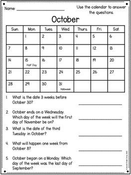 Calendar Activities (VA SOL 2.13)