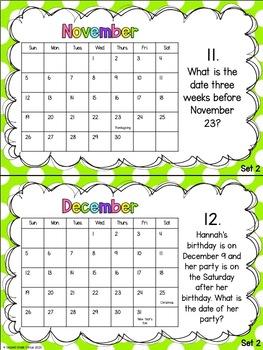 Calendar Activities (VA SOL 2.10)