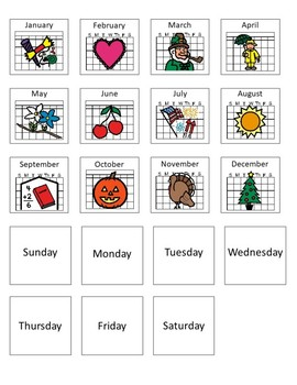 Calendar Activities Workbox or File Folder