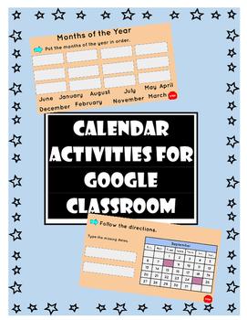 Calendar Activities for Google Classroom
