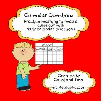 Calendar Activity:Questions for Daily Calendar Use