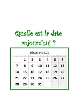 Calendar Activities * Pac For French Class