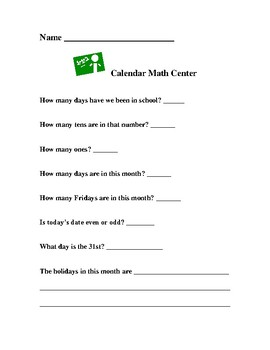 Calendar Activity for First Grade Math Centers