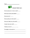 Calendar Activity for First Grade Math Centers