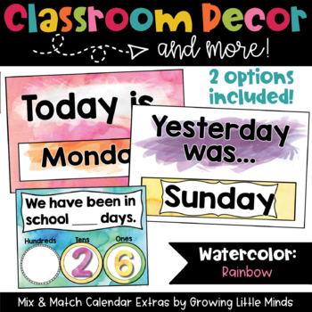 Calendar Add-Ons Rainbow Watercolor classroom decor