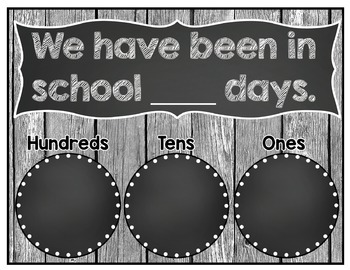 Calendar Add-Ons Shabby Chic Rustic Wood Chalkboard Classroom Decor