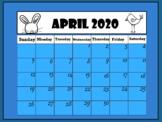 Calendar April 2019 (Interactive) Distance Learning