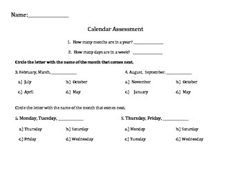 Calendar Assessment: Months, Days of the Week and Dates