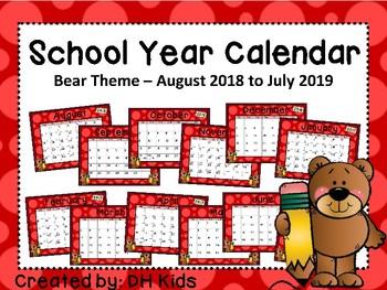 Calendar - Bear Theme - School Year Calendar 2018-19
