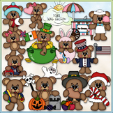 Calendar Bears Clip Art - Monthly / Holiday Clip Art - CU