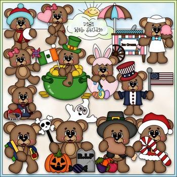 Calendar Bears Clip Art - Monthly / Holiday Clip Art - CU