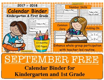 Calendar Binder for Kindergarten and 1st Grade SEPTEMBER FREE