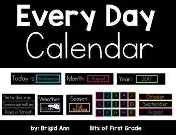 Calendar Black Series with Bright Colors