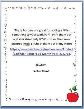 Calendar Borders - 10 Month Pack