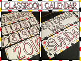 Classroom Calendar -- Red Yellow Black Dot Theme -- Days Months Years Occasions