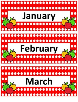 Calendar Bundle~ Red Polka Apple Buddies