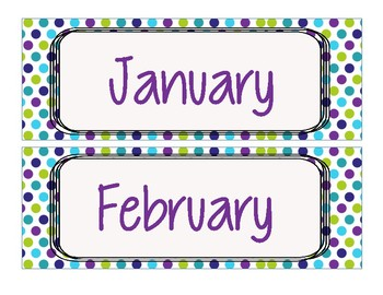 Calendar Bundle with Lime Green, Purple, and Teal (WHITE BACKGROUND)