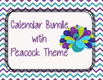Calendar Bundle with Peacock Lime Green, Purple, and Teal (WHITE BACKGROUND)