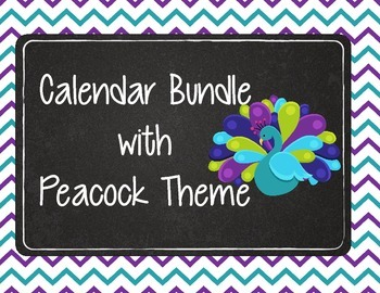 Calendar Bundle with Peacock Theme Lime Green, Purple, and Teal