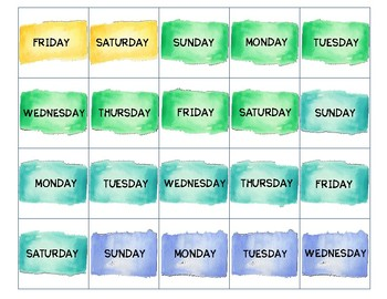 Calendar Card Watercolor Complete Set