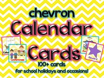 Chevron Themed Calendar Cards