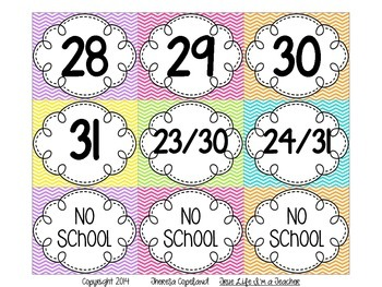 Calendar Cards {Chevron Brights}