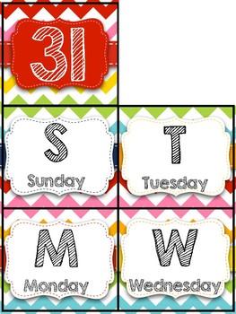 Rainbow Chevron Calendar Cards